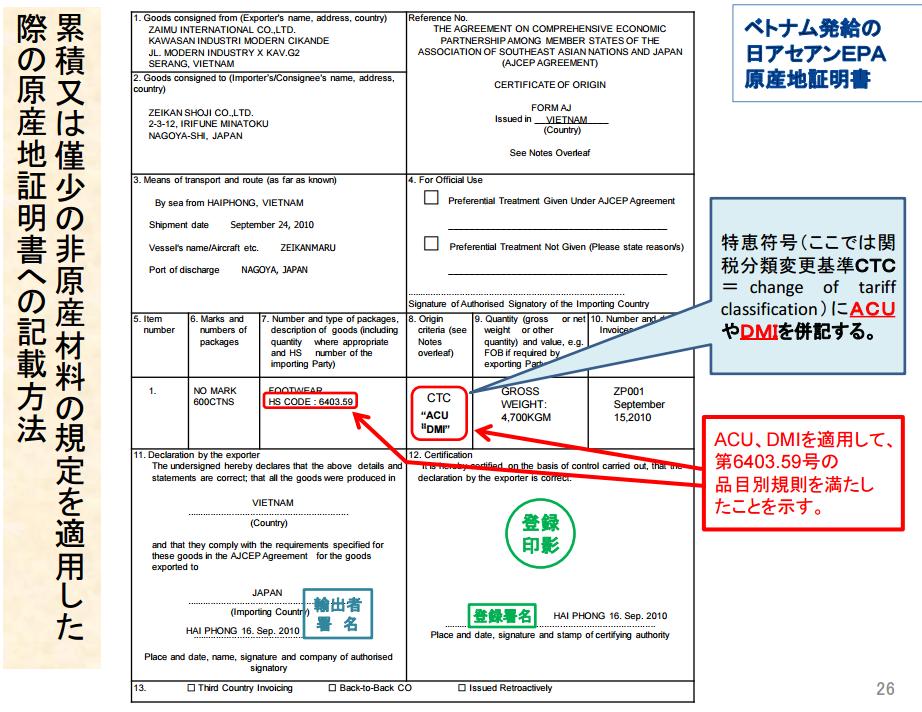 累積ACUを原産地証明書に記載