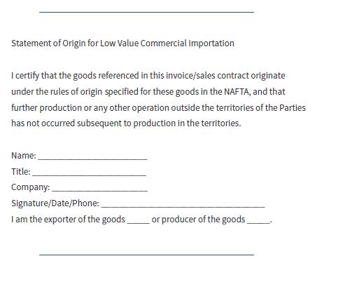 NAFTA原産地証明書提出除外の為の宣誓書