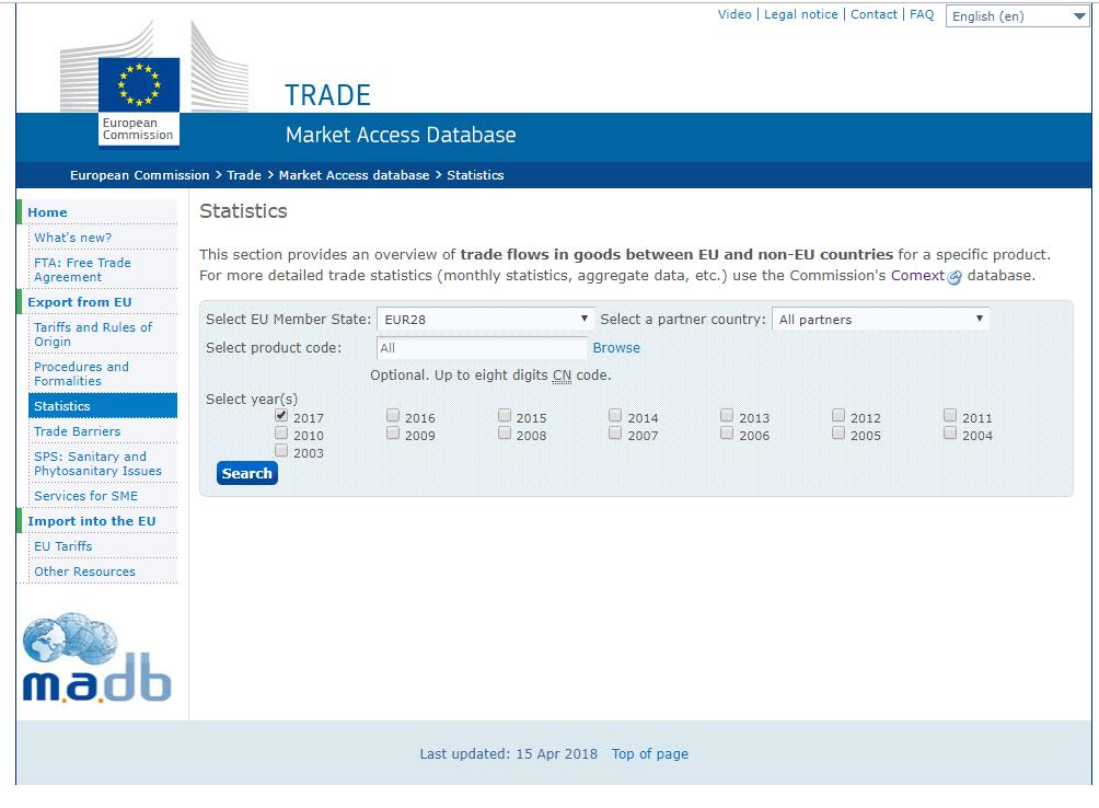 EU TRADE Market Access Databaseで品目コード別貿易統計データ